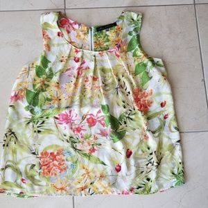 Rose & Olive Floral Sleeveless Top size L